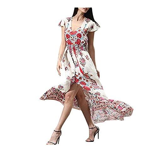 Palace retro Druckkleid VENMO Frauen drucken Blumen Retro Palace Röcke V-Ausschnitt Abendkleid (XXL, Pink)