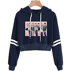 Bangtan Boys BTS Sudaderas con Capucha Sudaderas Cortas Suéteres Impresos De Manga Larga Suga JIN Jimin V Jung Kook J-Hope Rap Monster (2,S)