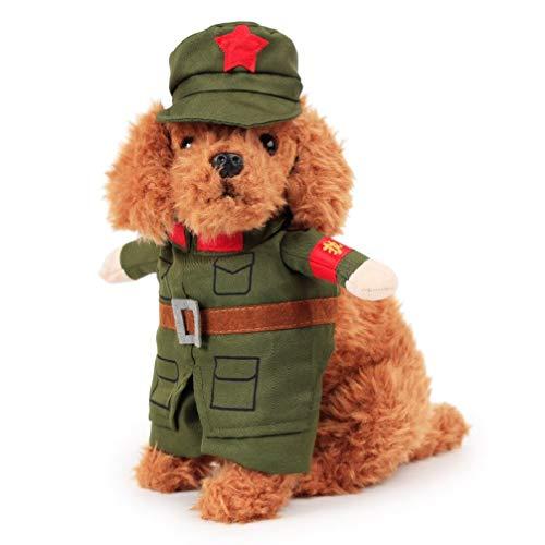 AMURAO Lustige Haustier-Hundemantel-Jacke warme Welpenkleidung mit mit Kapuze Kostüm-Teddybär-Haustier-Produkten für kleine Hunde - Gitter-Ärmel Pullover