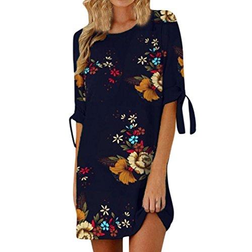 Heiß! Damen Kleid Yesmile Frauen Frühling Sommer Lose Halbe Hülse Minikleid Blumendruck Bowknot Ärmeln Cocktail Minikleid Casual Party Kleid (L, Dunkelblau)