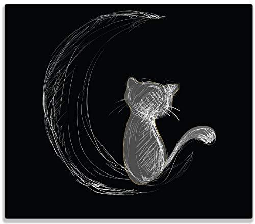 Wallario Herdabdeckplatte/Spritzschutz aus Glas, 1-teilig, 60x52cm, für Ceran- und Induktionsherde, Weiße niedliche Katze sitzt auf dem Mond - illustriert in weiß auf schwarz