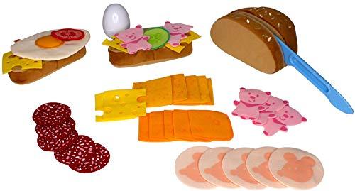 Haba Biofino Brot, Wurstscheiben, Käseaufschnitt und Ei, mit Gemüsebeilage; im Set Brot, Wurst, Käse, Ei für Kaufmannsladen & Spielküche