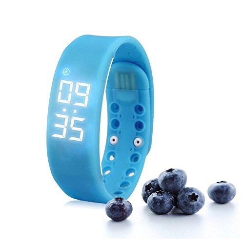 Moderne Fitness-Armbanduhr mit Schrittzähler für Kinder, blau