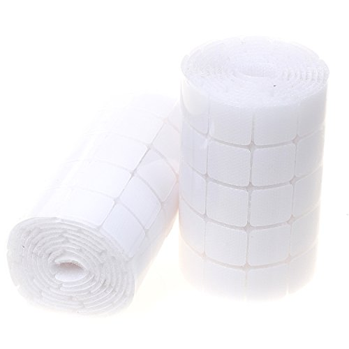 Himry 590 kxb5028 - quadrati adesivi in velcro, 295 paia, 19 mm x 19 mm, autoadesivi, velcro quadrato con parte in velcro e gancio, ganci e occhiello, colore: bianco