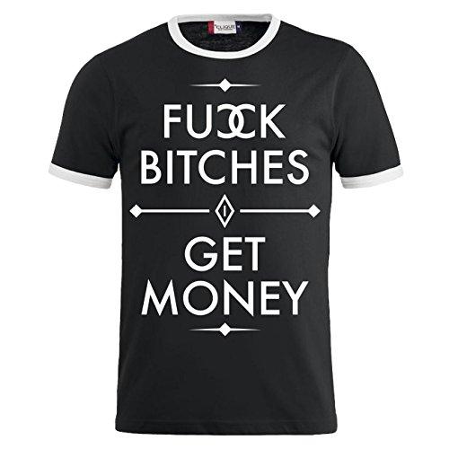 Männer und Herren T-Shirt FUCK BITCHES - GET MONEY Schwarz/Weiß