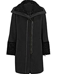 Un-Poco Black Wool Blend Velvet Collar Tailored Winter Coat Size 8 To 18