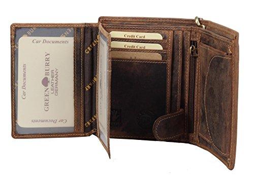 Greenburry Vintage Herren Leder Ausweismappe Braun 12x9x1 cm