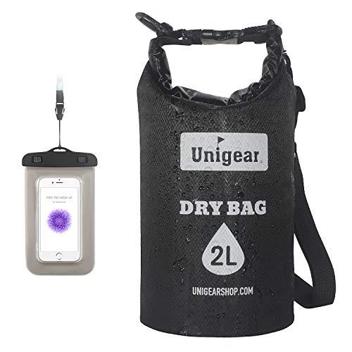 Unigear Dry Bag, Dünn&Leichte Version, 2L/5L/10L/20L Wasserdichte Tasche Trockensack Seesack Trockentasche, mit Wasserdichte Handytasche, für Boot Kajak Angeln und Rafting (Schwarz, 10L) -