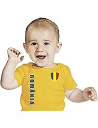 Rumänien BABY T-Shirt - Trikot Look - Gr. 68-86 - Gelb