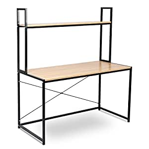 woltu tsb02hei schreibtisch computertisch b rom bel pc tisch b rotisch arbeitstisch aus holz und. Black Bedroom Furniture Sets. Home Design Ideas