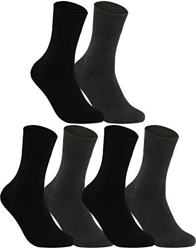 Vitasox 31120 Chaussettes homme extra-larges en coton, chaussettes médicales sensibles sans élastique sans couture 6 paires noires anthracites 39/42