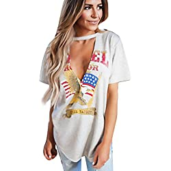 LHWY Vintage Rock Estilo Tapas Vacaciones Fiesta Casual Camiseta Blusa De Las Mujeres (XL)