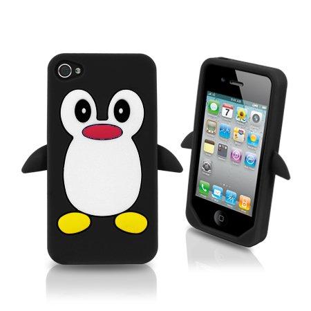 Tinkerbell Trinkets ® Pinguin Silikon-Schutzhülle für Apple iPhone 4/4S, Schwarz