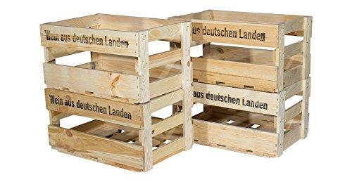 """6er Set neue Weinkiste mit Aufdruck / Schriftzug """"Wein aus deutschen Landen"""" - Obstkiste Holzkiste Weinregal Weinlagerung Wein 46x30,5x24cm"""