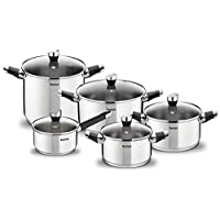 Tefal Emotion stainless steel 10 pieces pots and pans cooking set