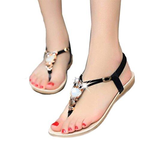 Sandales GongzhuMM Sandales Plates Femme Sandales Compensees Femme Chaussures Plates Chaussures de Plage Ballerine Escarpin Chaussures de Sport Tongs Strass Hibou Doux (CN37, Sexy Noir)