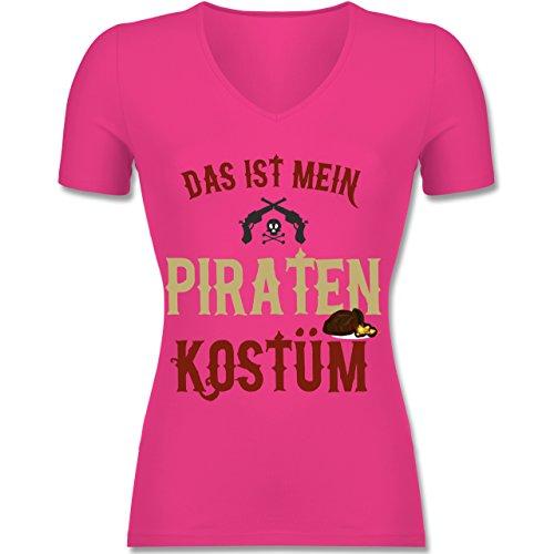Karneval & Fasching - Das ist mein Piraten Kostüm - S - Fuchsia - F281N - Tailliertes T-Shirt mit V-Ausschnitt für Frauen (Frauen Piraten Outfits)