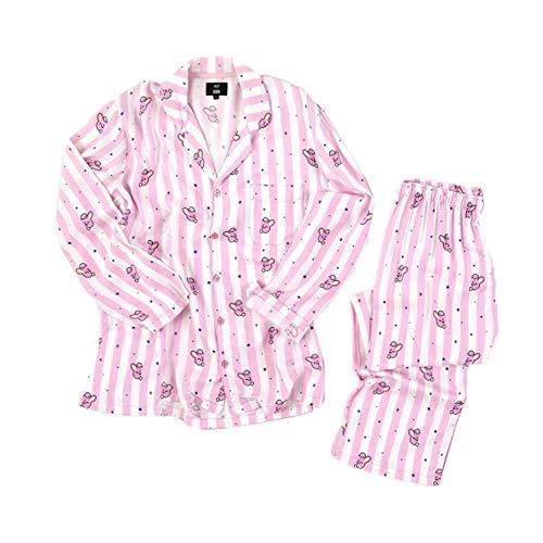 KPOP BTS Bangtan Jungen BT21 Jung JOOK Cartoon Version Jimin V Same Harajuku Pyjama Langarm Nachthemd Mann Frau Bedgown,Rosa,XL
