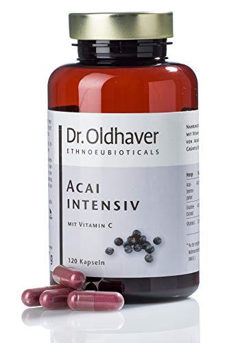 Dr. Oldhaver Acai intensiv - Acai Beeren Kapseln (120 Stück)   Hoch konzentriertes Acaibeerenpulver + Grüntee Extrakt + Vitamin C   Frei von Gluten und Lactose, 100% Vegan -