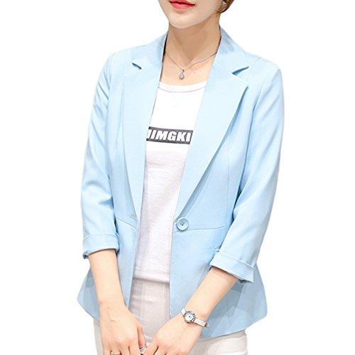 YiLianDa Chaqueta Manga Larga Blazer de Elegante Oficina Cazadoras Abrigos para Mujer Rosa S
