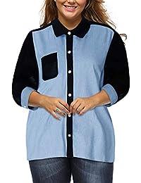 Zilcremo Camisa De Mezclilla De Gasa De Talla Grande Botón Abajo Jeans Blusa Camisas