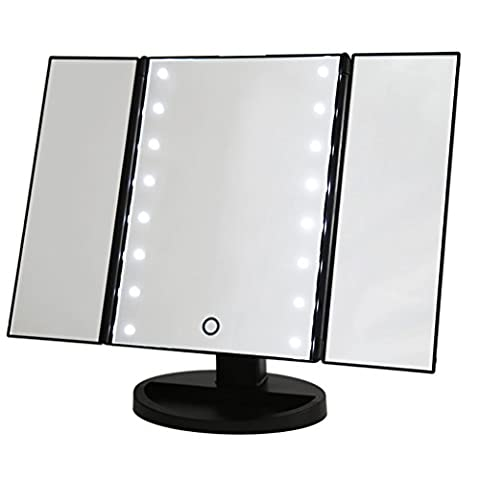 Mondpalast @ Bright LED Lighted Cosmetic Mirror Compact Makeup Mirror Triple Folding foldable Illuminated Makeup Mirror with 16 LED Lamps for Traveling Bedroom Bathroom Travel Makeup