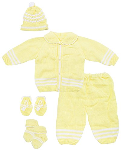 Baby Bucket Wear New Born Woolen Sweater Full Suit - 5 Pcs Set (Yellow)
