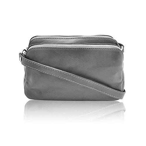 ALMA petit sac à bandoulière avec deux compartiments à fermeture à glissière, cuir de vachette, fabriqué en Italie anthracite