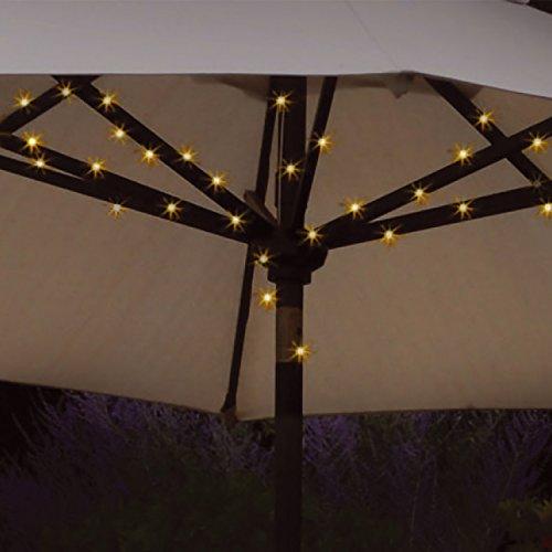 Solarbetriebener Sonnenschirm mit Lichterkette-Dual-Funktion, 72LED