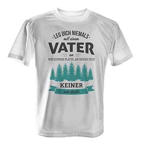 Fashionalarm Herren T-Shirt - Leg dich niemals mit einem Vater an | Fun Shirt mit Spruch als Geburtstag Geschenk Idee für Väter Weiß