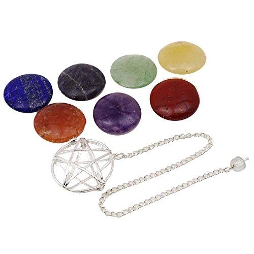 HARMONIZEConjunto de 8 Piezas de Metal Semipreciosa Espiral joyería enjaulado Péndulo curativo de Piedra