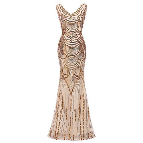 BINGQZ Damen/Elegant Kleid/Cocktailkleider Gold Mermaid Abendkleid Robe De Soiree Pailletten Abendkleider V-Ausschnitt Formale Imported Party Kleider