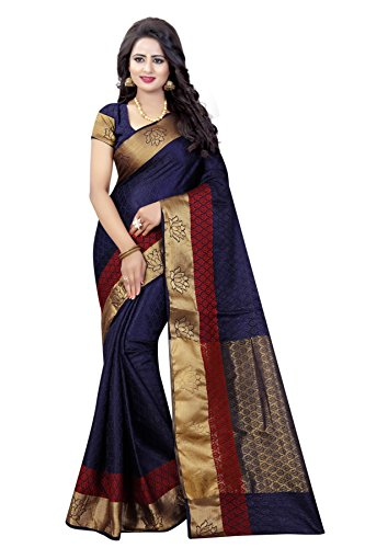 SATYAM WEAVES Women's Cotton Silk Navy Blue Colour Saree With Blouse Piece