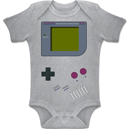 Shirtracer Strampler Motive - Gameboy - 3-6 Monate - Grau meliert - BZ10 - Baby Body Kurzarm Jungen - Game Boy Color Kostüm