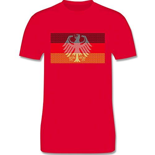 EM 2016 - Frankreich - Deutschland Flagge Schrift - Herren Premium T-Shirt Rot