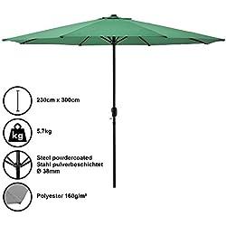 [casa.pro]®] Parasol de Jardin Polyester Acier Revêtu par Poudre Vert 300cm x 230cm
