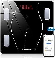 YOUNGDO Bilancia Pesa Persona Digitale Carica USB, Bilancia Impedenziometrica con 23 Dati(BMI/BFR/Acqua/Muscol