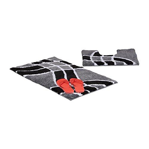 Relaxdays Badgarnitur 2-teilig mit Wellenmuster, Für Fußbodenheizung, Waschbar, Badematte und WC-Vorleger, Für Stand-WC, 80 x 50 cm, grau