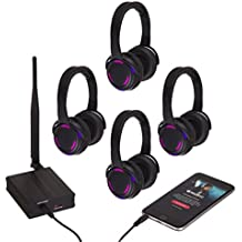 RockJam Professional Silent Disco System with 4 Hi-Fi Wireless Headphones and Dual Channel Transmitter