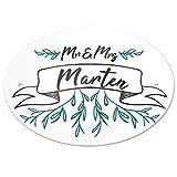 Eurofoto Türschild mit Nachnamen Marten und Motiv - Mr & Mrs Marten im Zeichenstil | für den Innenbereich | Klingelschild