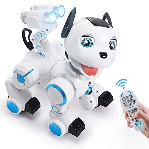 SGILE ferngesteuert Hund Roboter Spielzeug, Intelligent RC Hund mit Licht und Musik, Programmierbar Niedlich Interaktiv Dog Singen Tanzen für Kinder Jungen Mädchen Geschenk
