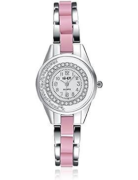 Lekima Armbanduhr Quarz Analog Runde Faux Diamant Strass Kristallvorwahlknopf -Legierungs-Band-Handgelenk-Frauen-Geschenk...
