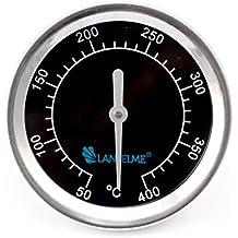 Lantelme 5831 Barbacoa Termómetro Black 400 Series. Resistente al agua de acero inoxidable. Analog y bimetal