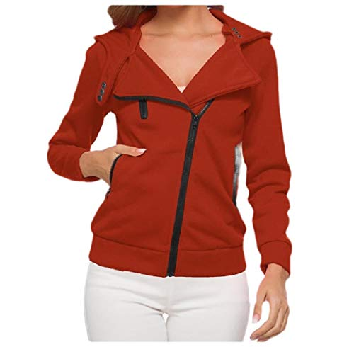 VITryst Womens Skinny Thickened Plus Velvet Zipper Hoodie Sweatshirts Jacket Orange M -