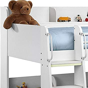 Happy Beds Domino White Finished Sleep Station Childrens Kids Bunk Bed 3' Single With 2x Memory Foam Mattress