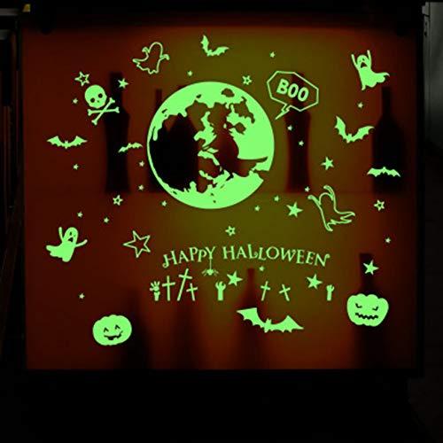 Zxdcd Glow In The Dark Wandaufkleber Leuchtende Fledermaus Kürbis Geist Happy Halloween Wandtattoos Kinderzimmer Kinderzimmer Fenster Glas Dekor Kunst