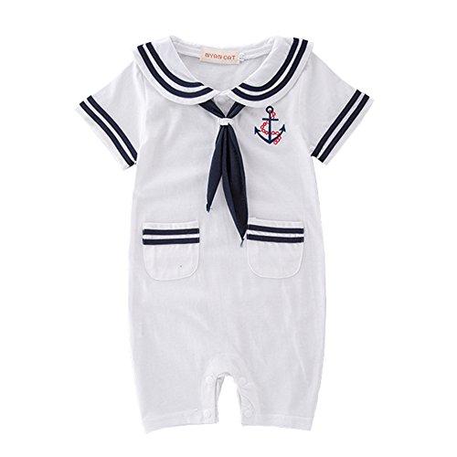 DREAMOWL Junge Kleinkind Matrosenanzug Streifen Strampler Navy Baby Body Outfit 3-6 monate weiß