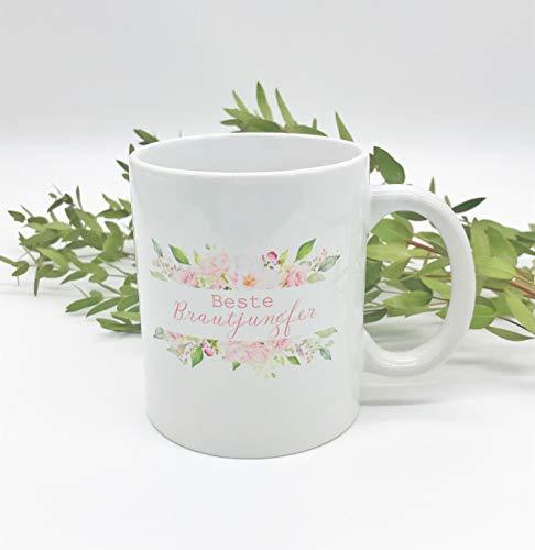 Great Stuff Tasse Hochzeit Beste Brautjungfer Bridesmaid Rosen Blüten Beste Freundin BFF Geschenk Idee Hochzeit (Brautjungfer Geschenke Ideen)