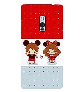 Oneplus 2, Fuson Premium Cute Couple Designer Metal Printed with Hard Plastic Back Case Cover