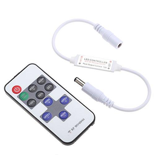 Docooler Mini LED RGB Telecomando della Luminosità con 11 Tasti RF Remote Wirless DC di (Regolatore Connettore)
